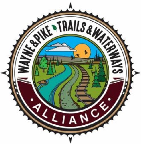 The logo for the Wayne Pike Trails and Waterways Alliance showing a river, rail and trail.