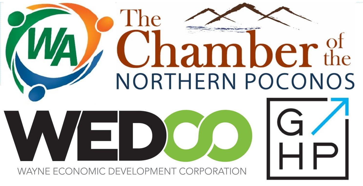 A grouping of logos from WEDCO,  the Greater Honesdale Partnership, Chamber, & Communuity Foundation